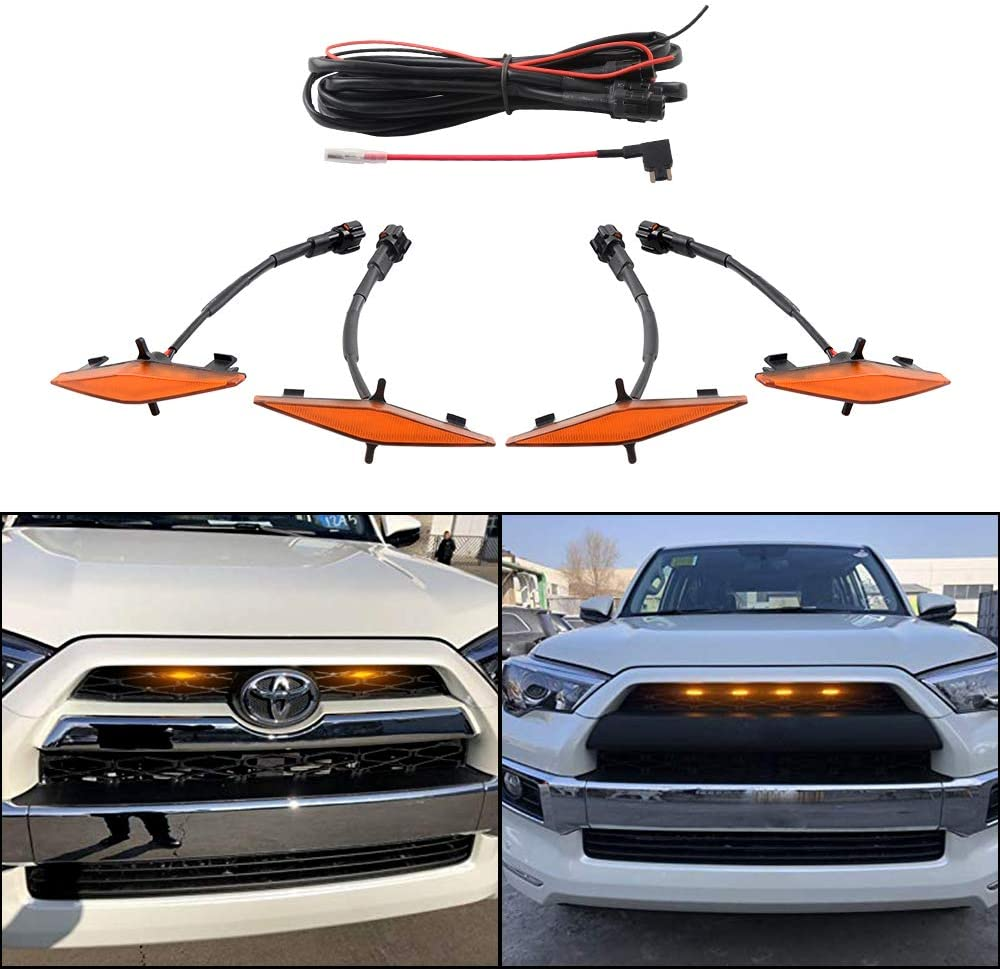 ZGAUTO Grill Light With Fuse Adapter Fit for 4Runner TRD Pro Grille 2014 2015 2016 2017 2018 2019 4 Pcs LED Lights(Amber)