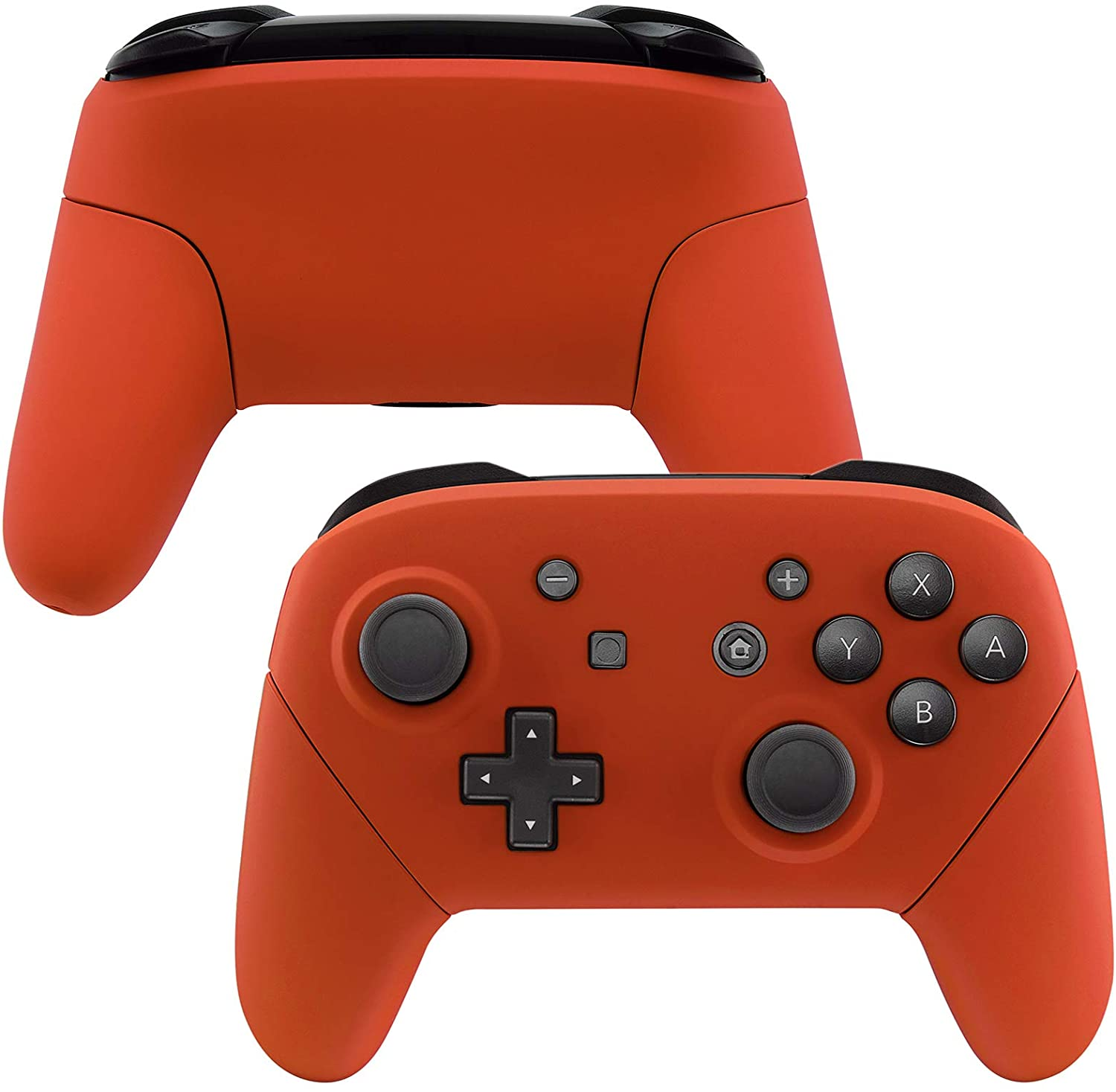 eXtremeRate Orange Faceplate Backplate Handles for Nintendo Switch Pro Controller, Soft Touch DIY Replacement Grip Housing Shell Cover for Nintendo Switch Pro - Controller NOT Included