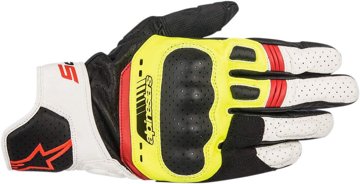 Alpinestars Mens Mens SP-5 Black/Yellow/White/Red Leather Gloves 3558517-1503-L