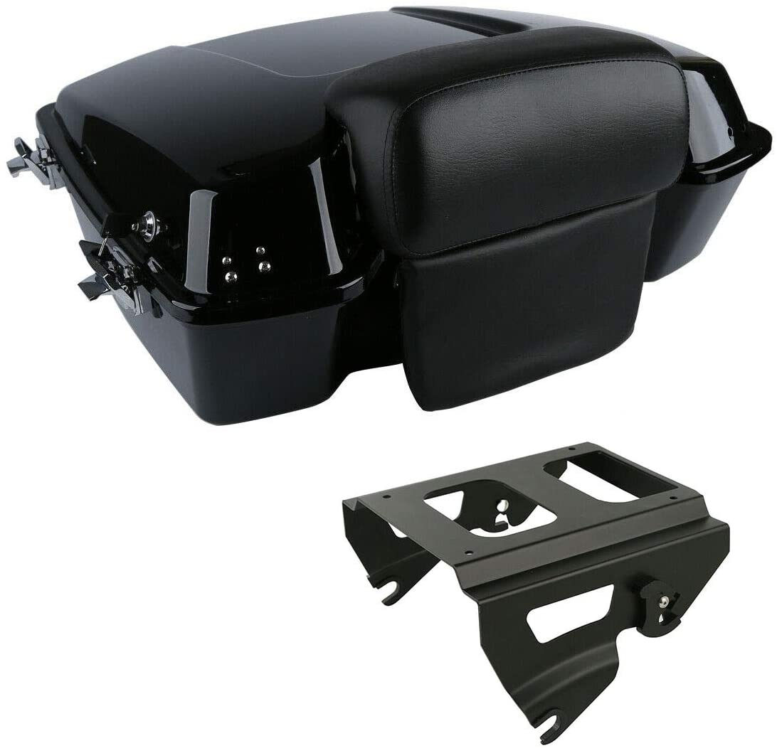 TCMT Chopped Tour Pack Trunk Black Latch Backrest Mount Rack Fit For Harley Touring Road King FLHT FLHX FLTR 1997-2008 (Black Latches/Mounting Rack, Style D)