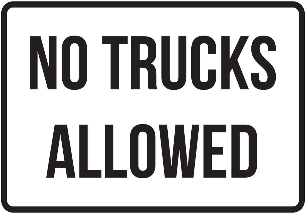 iCandy Products Inc No Trucks Allowed No Parking Business Safety Traffic Signs Black - 7.5x10.5 - Plastic