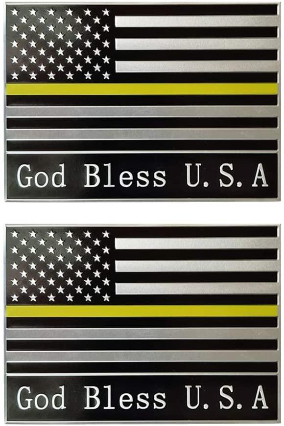 Arts Sticker Crafts God Bless USA American Flag Truck Motorcycle Auto Emblem Aluminum Car Emblem [4.3