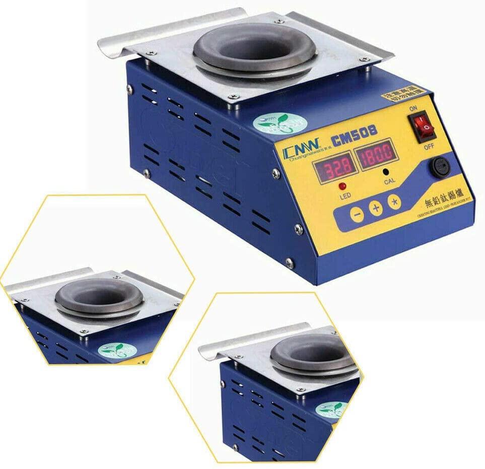 CM508 Lead Free Alloy Solder Pot Tin Preheat Bath Max 600°C Adjustable Temperature, Double Digital Display, Energy Saving AC 110V 280W