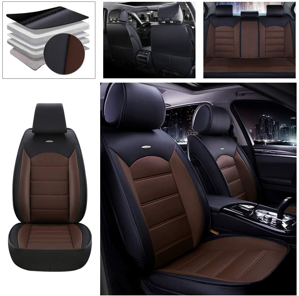 DBL Full Set Car Seat Cover for Honda Clarity (Airbag Compatible) PU Leatherette Car Seat Cushions Protector Black & Coffee