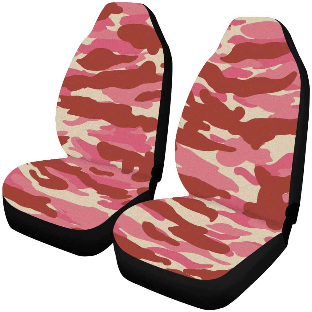 INTERESTPRINT Front Seat Covers 2 pcs, Each Piece with Different Printing Military Fashion Camo Pattern