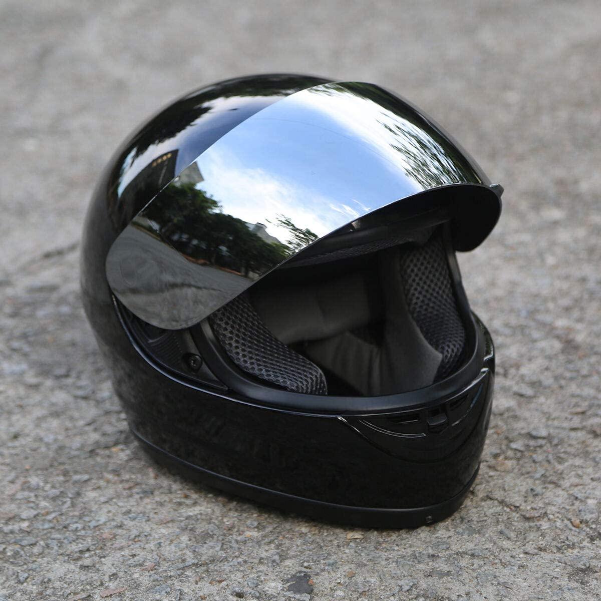 TCT-MT DOT Full Face Helmet Visor Mirror Sun Shield Motorbike Street Sport Motorcycle Adult Helmet Gloss Black (Medium)