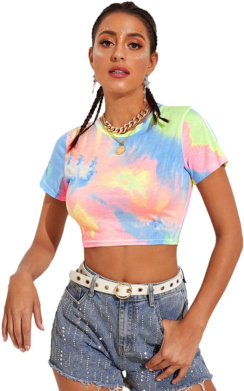 SweatyRocks Women's Short Sleeve Print Crop Top T Shirt Summer Casual Tie Dye Tees