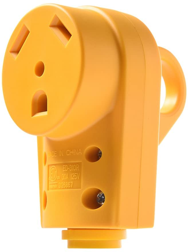 Snowy Fox RV 30 Amp Female Replacement Plug - Heavy Duty 30 Amp RV Plug Receptacle with Ergonomic Grip Handle,Designed to Accommodate Wire