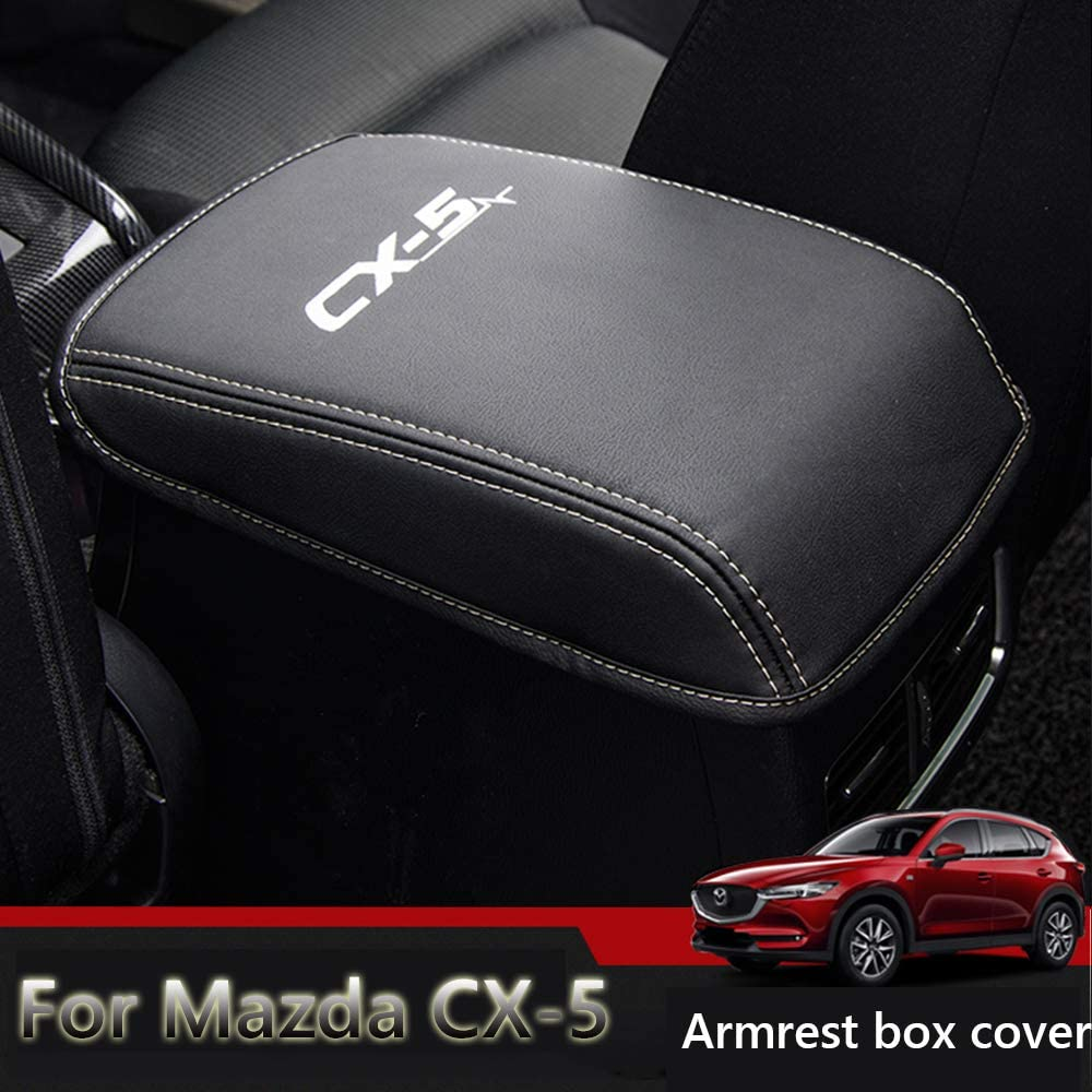 Great-luck Center Console Cover Armrest Pad Protector (Black with white Stitches) for Mazda CX-5 2017-2019