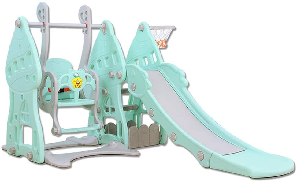 ROLENUNE Children Slide Swing Set 3-in-1 Combination Playset Kids Indoor Outdoor Toddler Climbing Activity in BackyardToy with Basketball Hoop Game Girl CenterPlaygroundAge for 3+ Year Old (Green)
