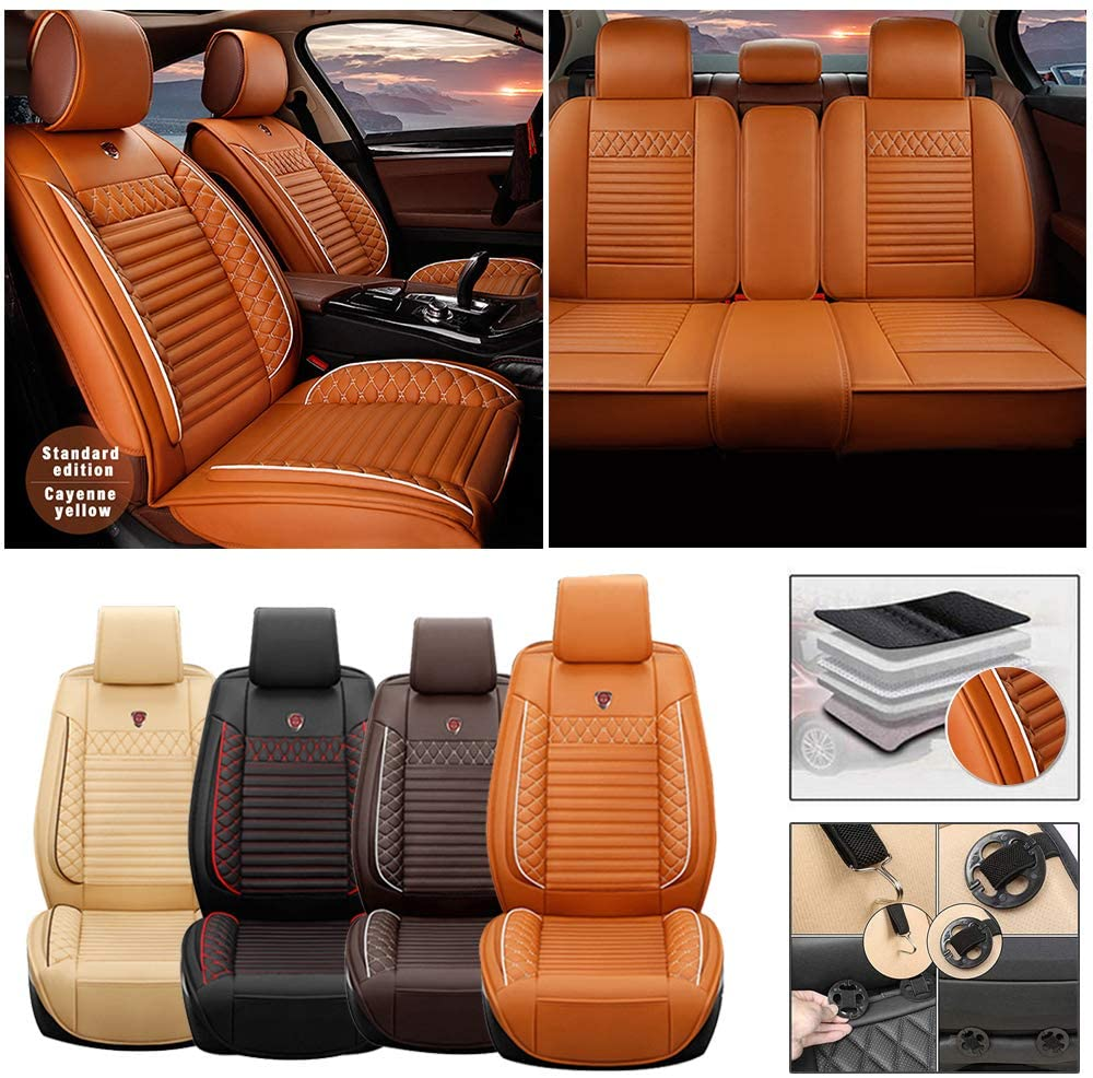 Full Set Car Seat Cover for Dodge RAM 2500 5-Seat (Airbag Compatible) PU Leatherette Car Seat Cushions Protector (Orange)