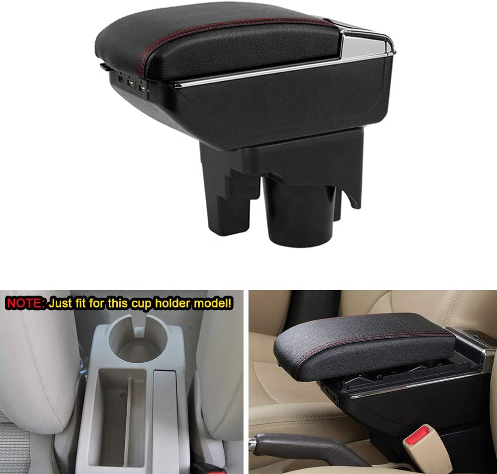 MyGone Center Console Armrest Box for 2006-2011 Volkswagen Jetta MK5 Golf 6, Car Interior Accessories Leather Arm Rest Organizer with LED Lights 7 USB Ports Cup Holder Removable Ashtray Black