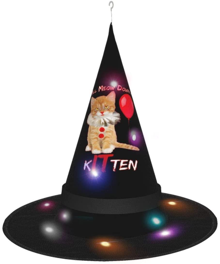 Halloween Scary We All Meow Down Here Clown Cat Kitten Poster Modern Witch Hats For Women Men Kids 2 Pcs