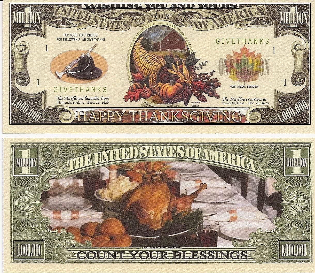Happy Thanksgiving $Million Dollar$ Novelty Bill Collectible