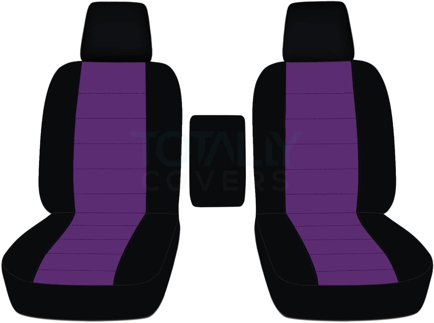 Totally Covers Compatible with 2004-2008 Ford F-150 Two-Tone Truck Bucket Seat Covers with Center Armrest, w/wo Integrated Seat Belts: Black & Purple (21 Colors) F-Series F150 Front