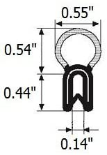 Vertical Bulb Trim Seal Bulb Diameter: 0.55