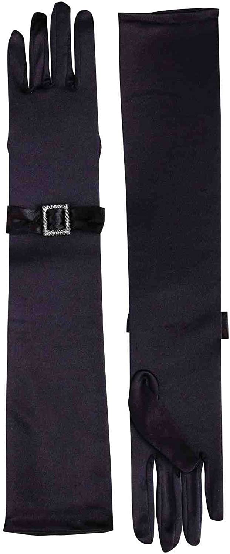 Forum Novelties Long Black Gloves with Rhinestone Buckles