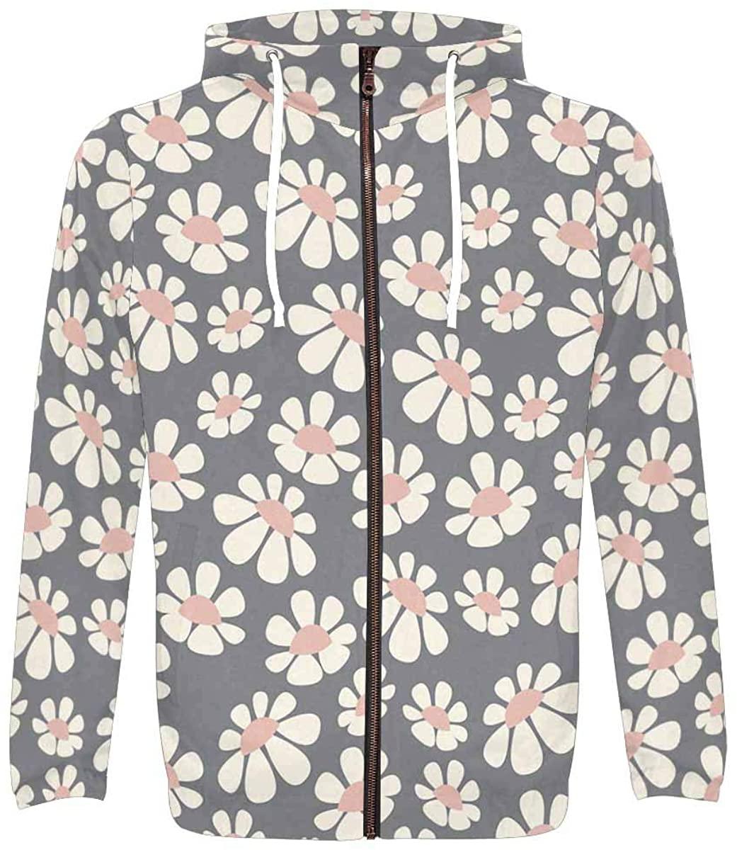 InterestPrint Men's Lightweight Full Zip Hoodie Flowers and Floral