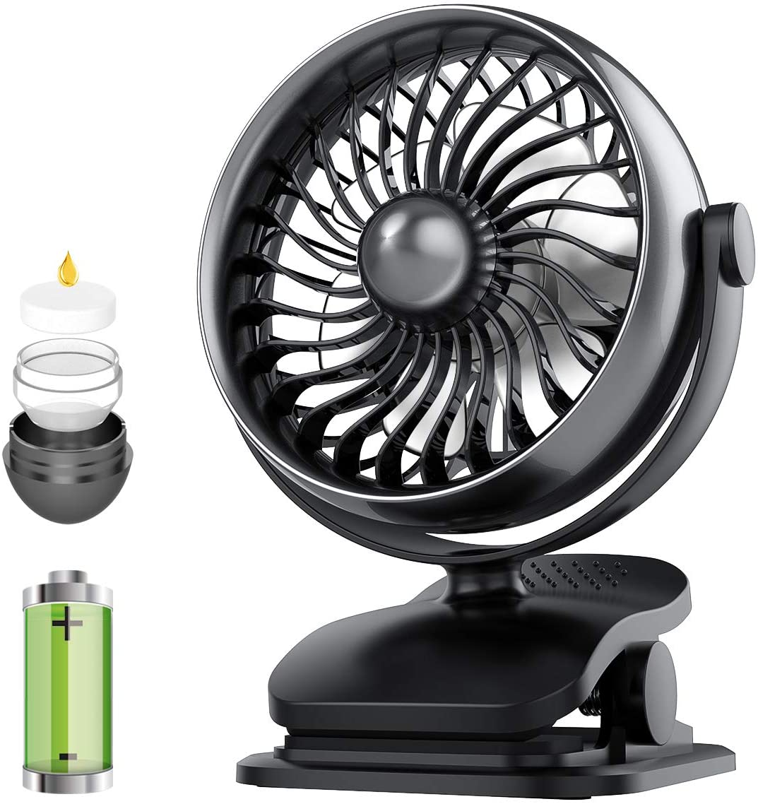 Battery Operated Clip on Fan, USB or Battery Powered Small Fan with Aroma Diffuser Function, 360 Rotatable Strong Airflow with 4 Speeds, Personal Fan for Baby Stroller, Office, Outdoor Activity
