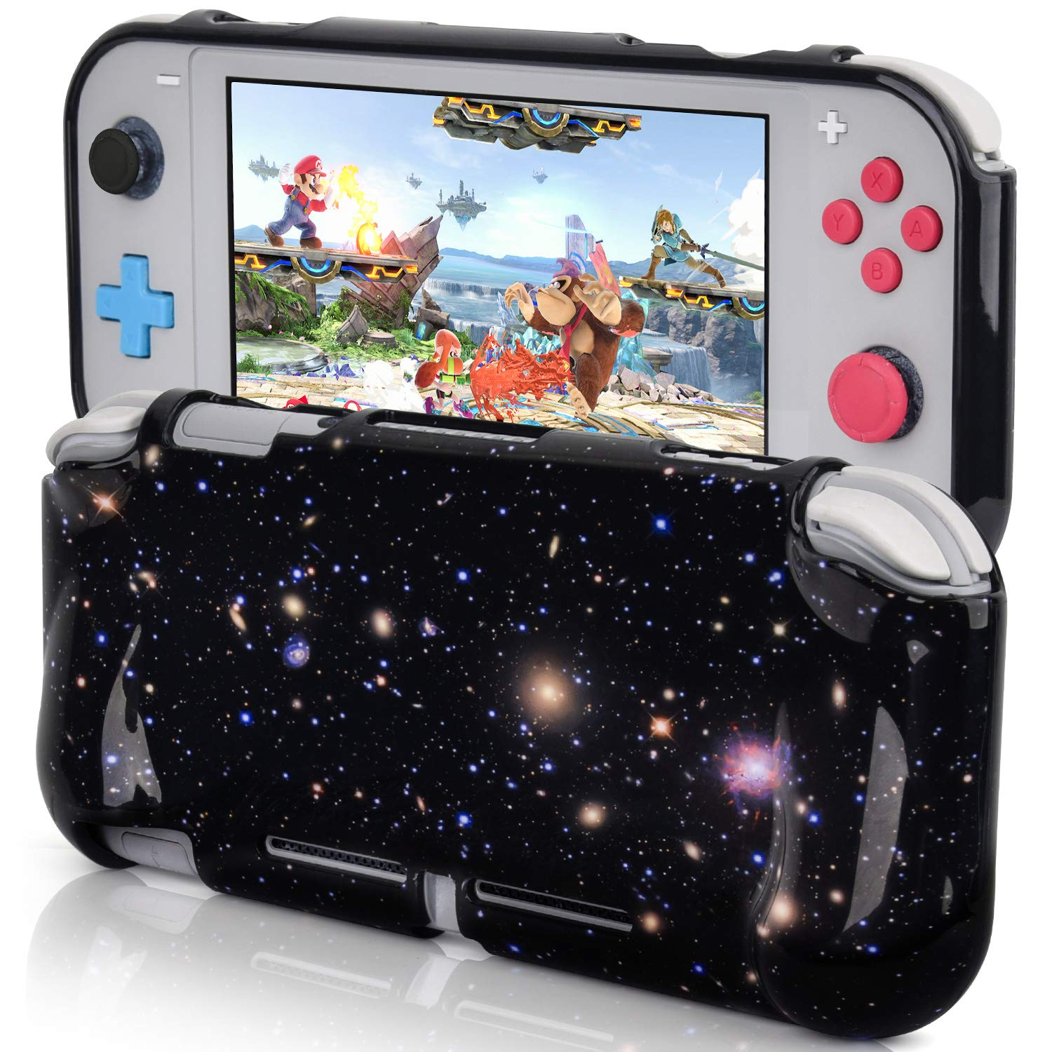 CAGOS Protective Case Compatible with Nintendo Switch Lite, Hard Shell TPU Grip Skin Case Cover Shock-Absorption and Anti-Scratch Non-Slip Travel Case Nintendo Switch Lite Accessories - Galaxy