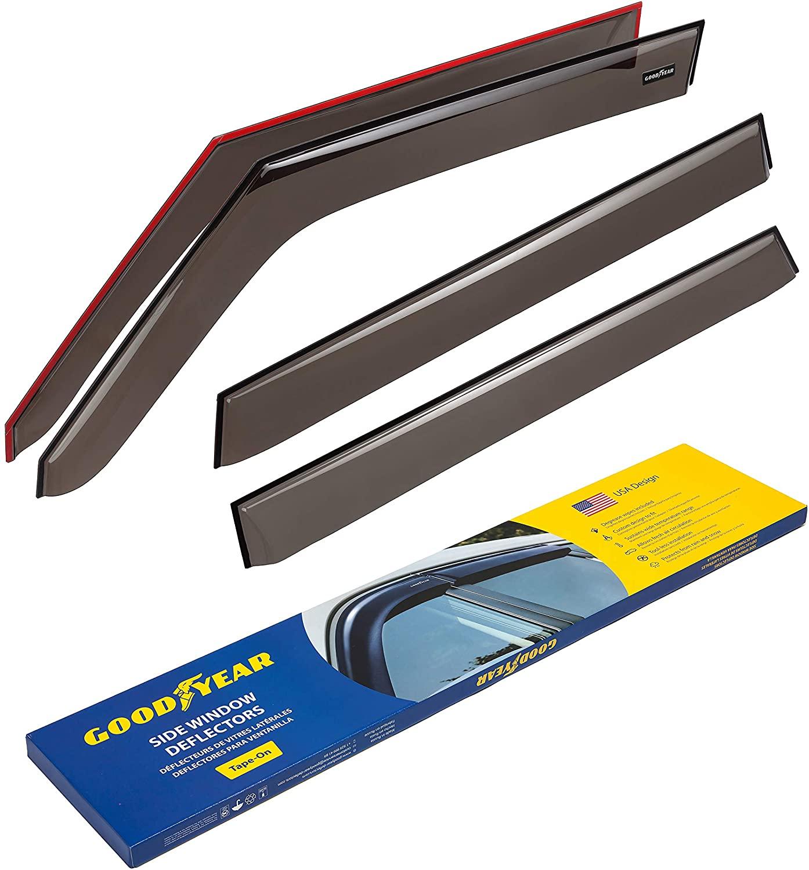 Goodyear Side Window Deflectors for Kia Soul 2014-2019 Hatchback, Tape-on Rain Guards, Window Visors, 4 Pieces - GY003134
