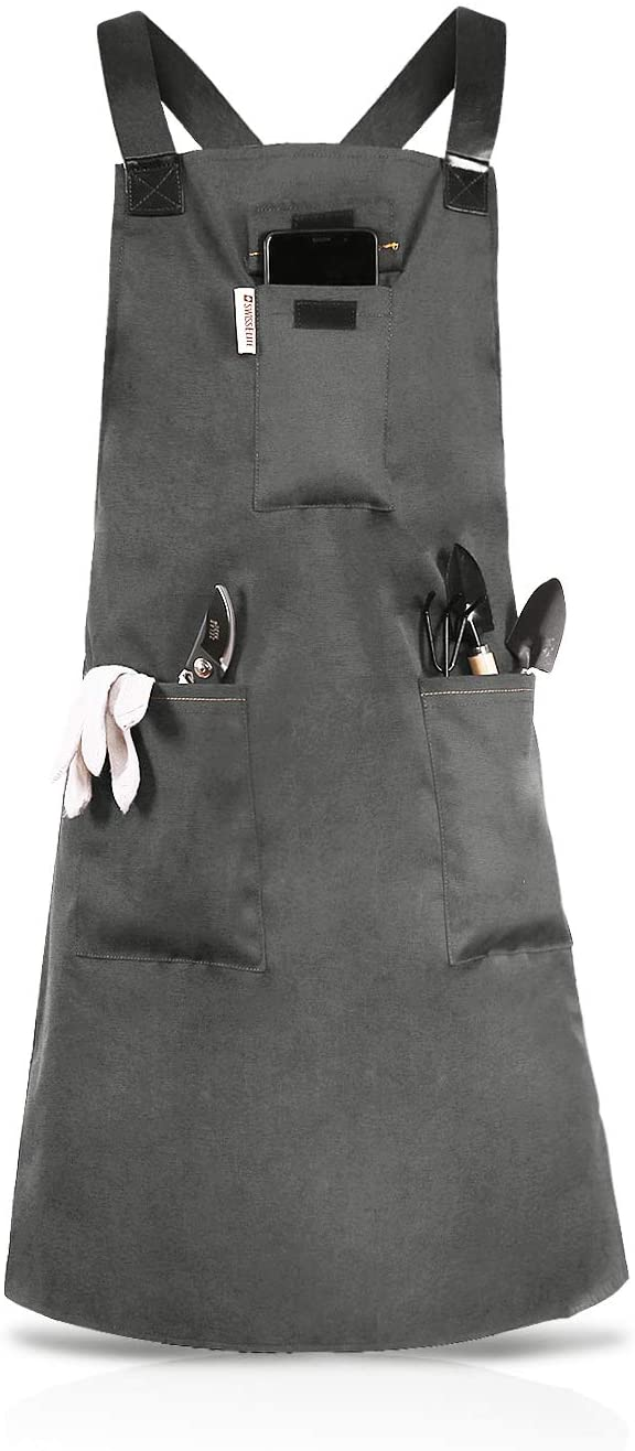 SWISSELITE Garden Apron Pockets for Men & Women,Garden Tools Apron Heavy Duty Waterproof Workshop,Adjust Nylon Belt with Leather Work Apron (Grey)