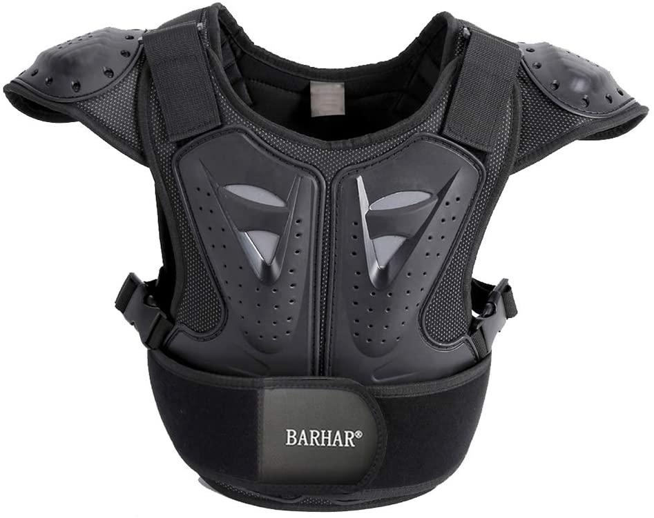 BARHAR Kids Dirt Bike Body Chest Spine Protector Armor Vest Protective Gear for Dirtbike Bike Motocross Skiing Snowboarding Black (XL for height 57