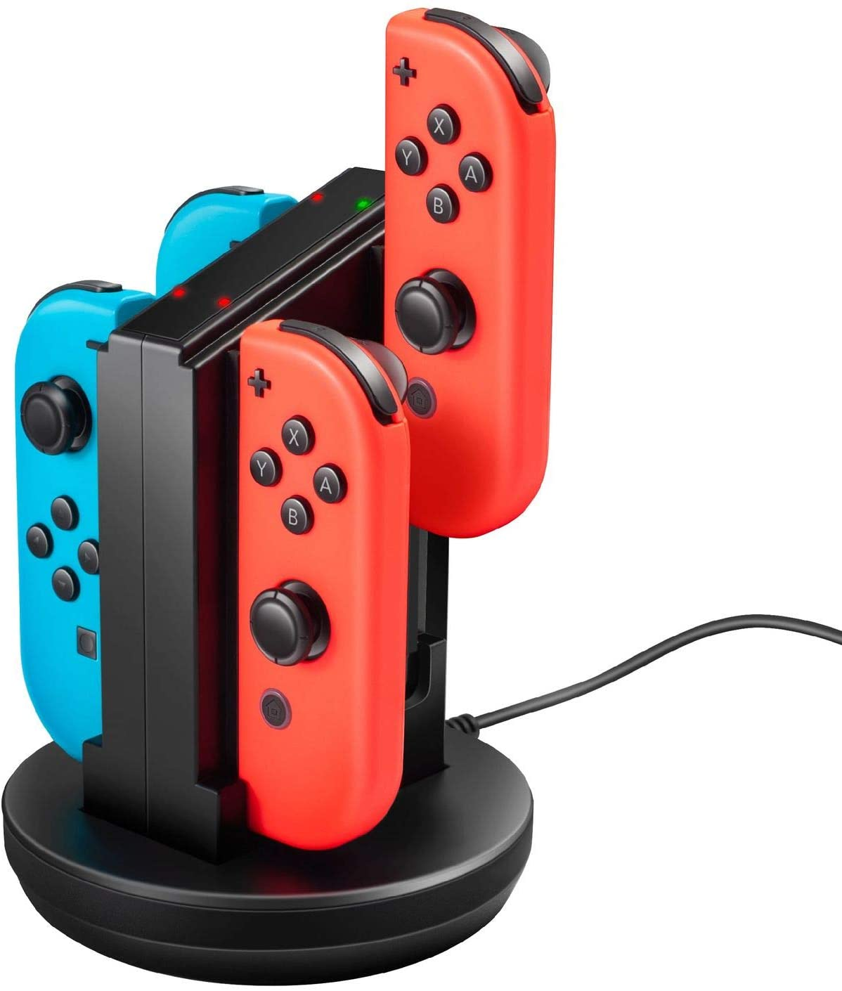 for Switch Joycon Charger Charging Station Compatible with Nintendo Switch Joy-Con Controllers 4-in-1 Dock Stand (with LED Indicators & 3 Feet USB Cable) by Insten
