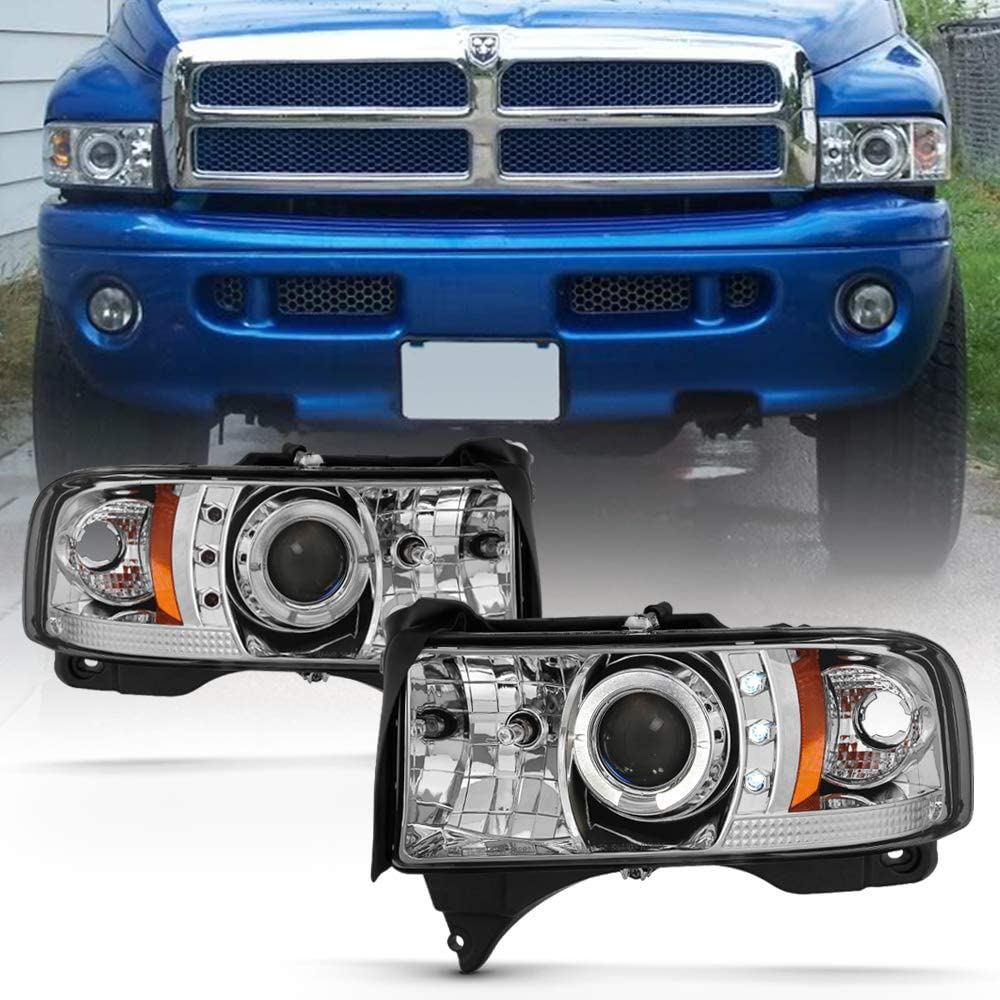 ACANII - For 1994-2001 Dodge Ram 1500 2500 3500 LED Halo Ring Chrome Housing Projector Headlights Headlamps Assembly