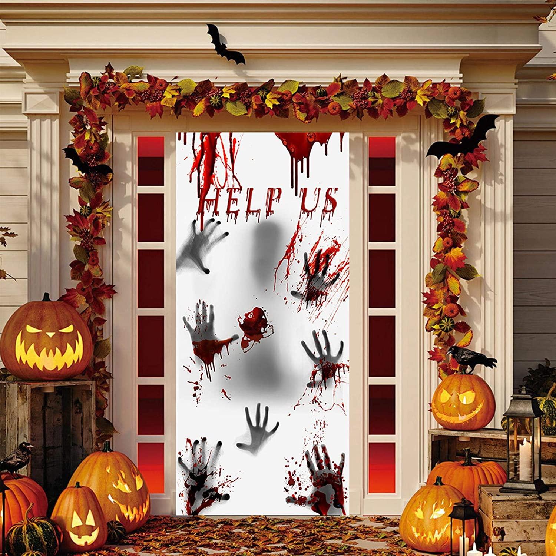Eutecado Halloween Window Door Cover, Help Us Quotes Bloody Handprint Door Banner Blood Dripping Splatters Scary Decorations, Removable Festival Party Decor