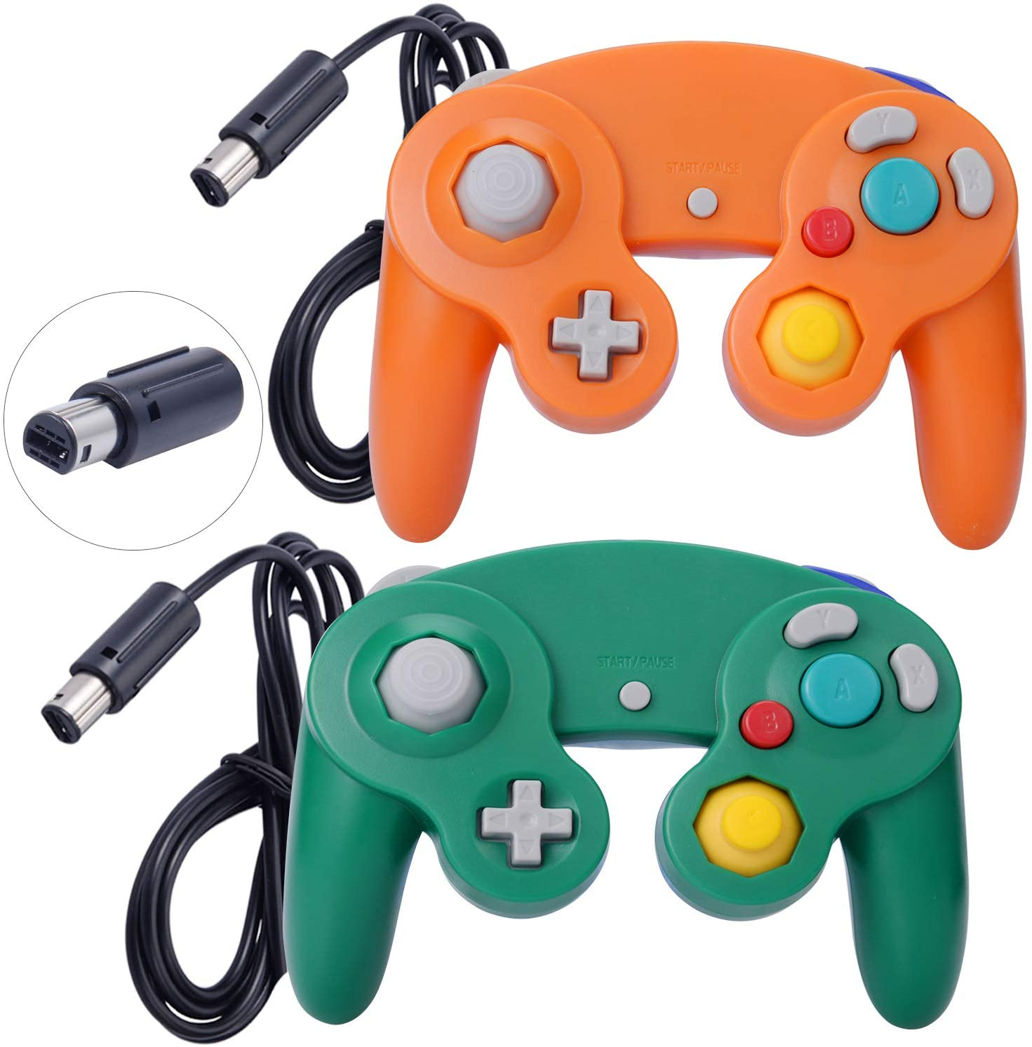 ONE250 2 Pack Classic Shock Joypad Wired Controller, Compatible with Wii NGC Gamecube Game Cube (Orange & Green)