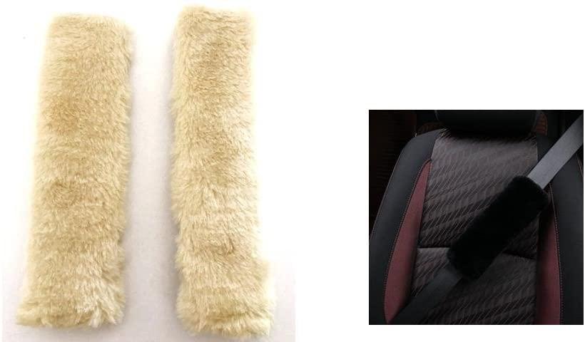 Vace Select Ultra Soft Faux Sheepskin Seatbelt Shoulder Pads 1 Pair (Beige)