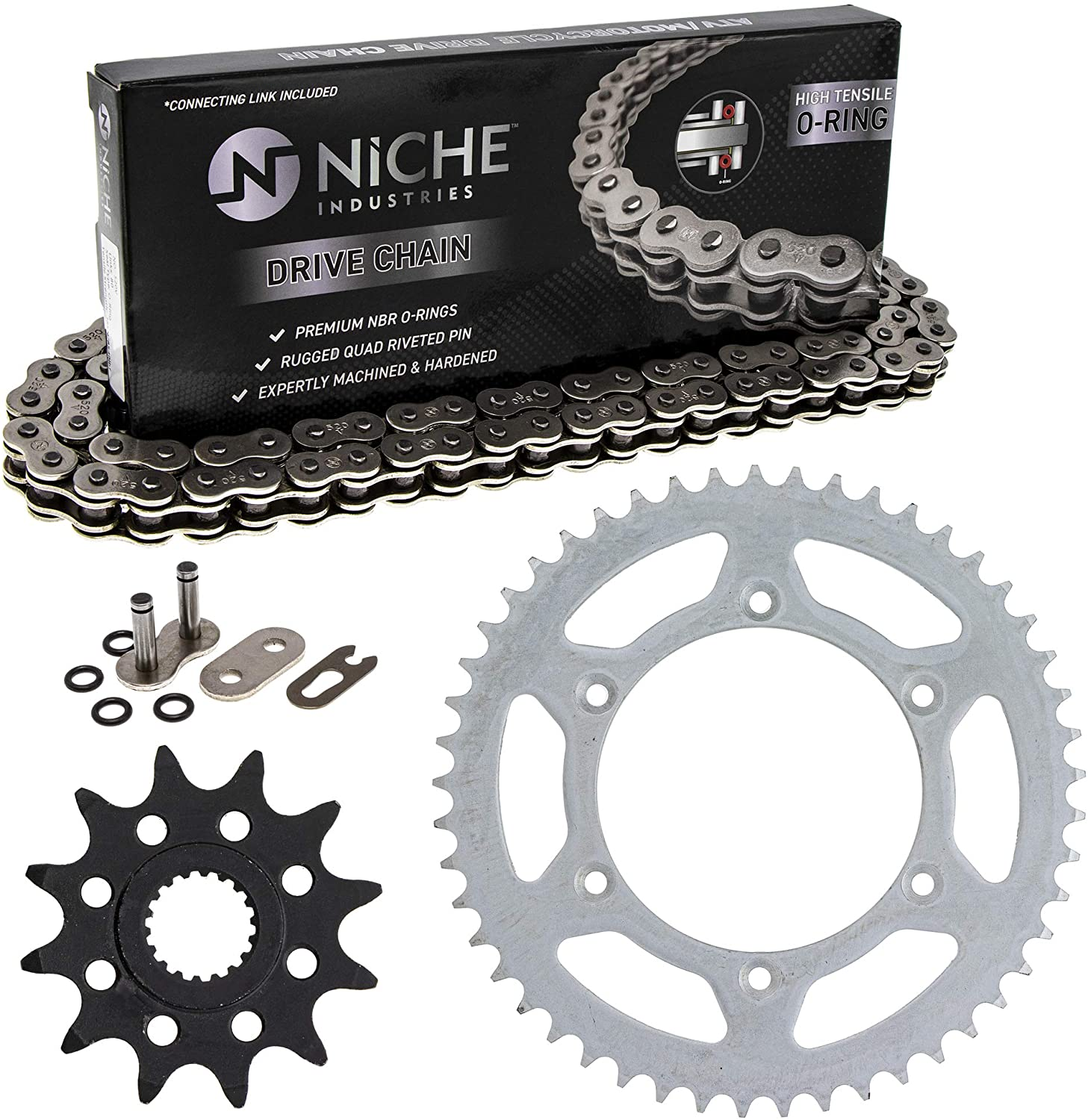 NICHE Drive Sprocket Chain Combo for Suzuki RM125 Front 12 Rear 49 Tooth 520V O-Ring 114 Links