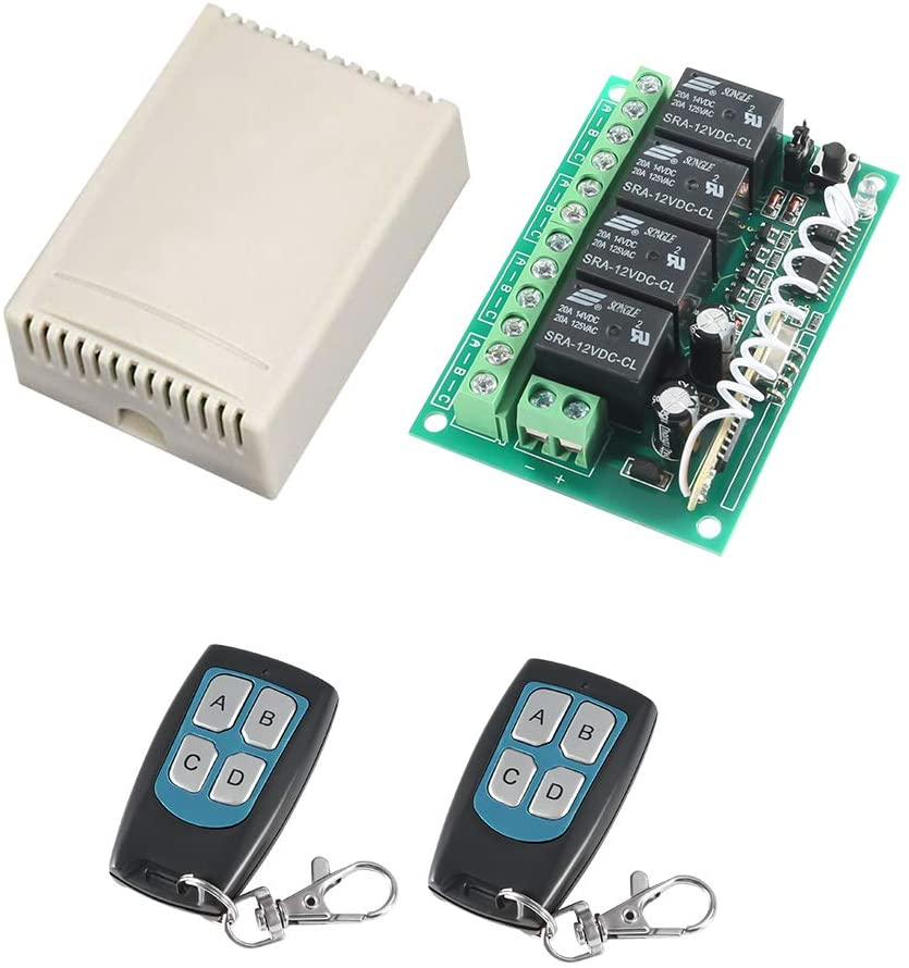 DC 12V 4-Channel Wireless Remote Control Switch, MELIFE 315Mhz RF Switch 2 Transmitter & 1 Receiver for Garage Door Openers, Cars, LED Lights & More