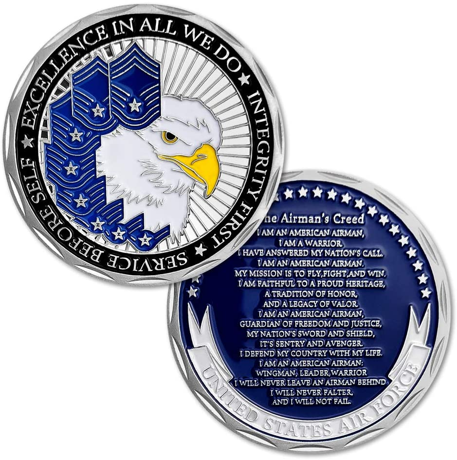 United States Air Force Challenge Coin The Airman's Creed Collectible Military Veteran Gift