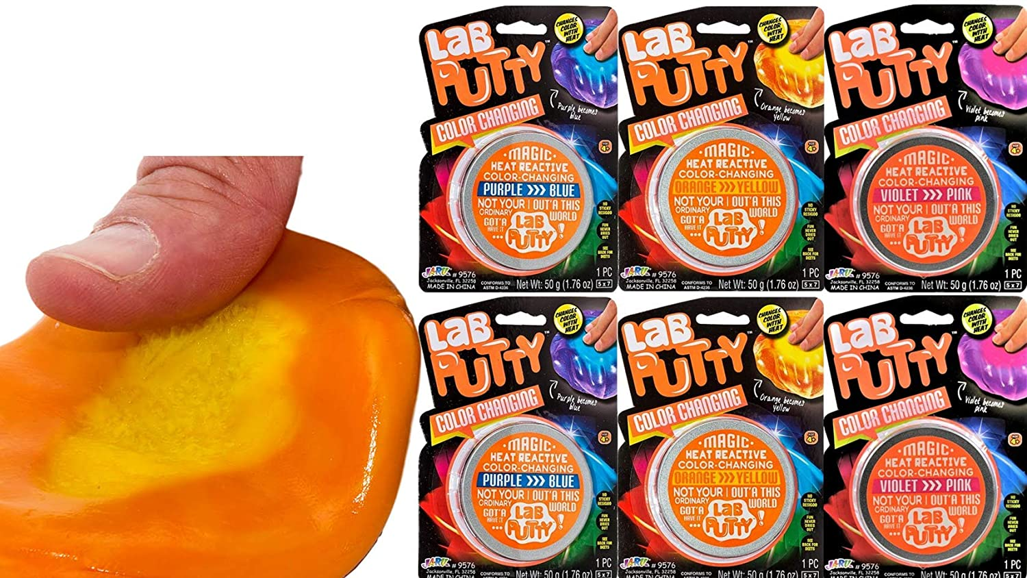 JA-RU Lab Putty Color Changing Heat Sensitive Bouncing (6 Units Assorted) Putty for Kids Best Thinking Silly Smart Crazy Stress Relief Putty with Tin, Sensory Toys Party Favor for Kids 9576-6p