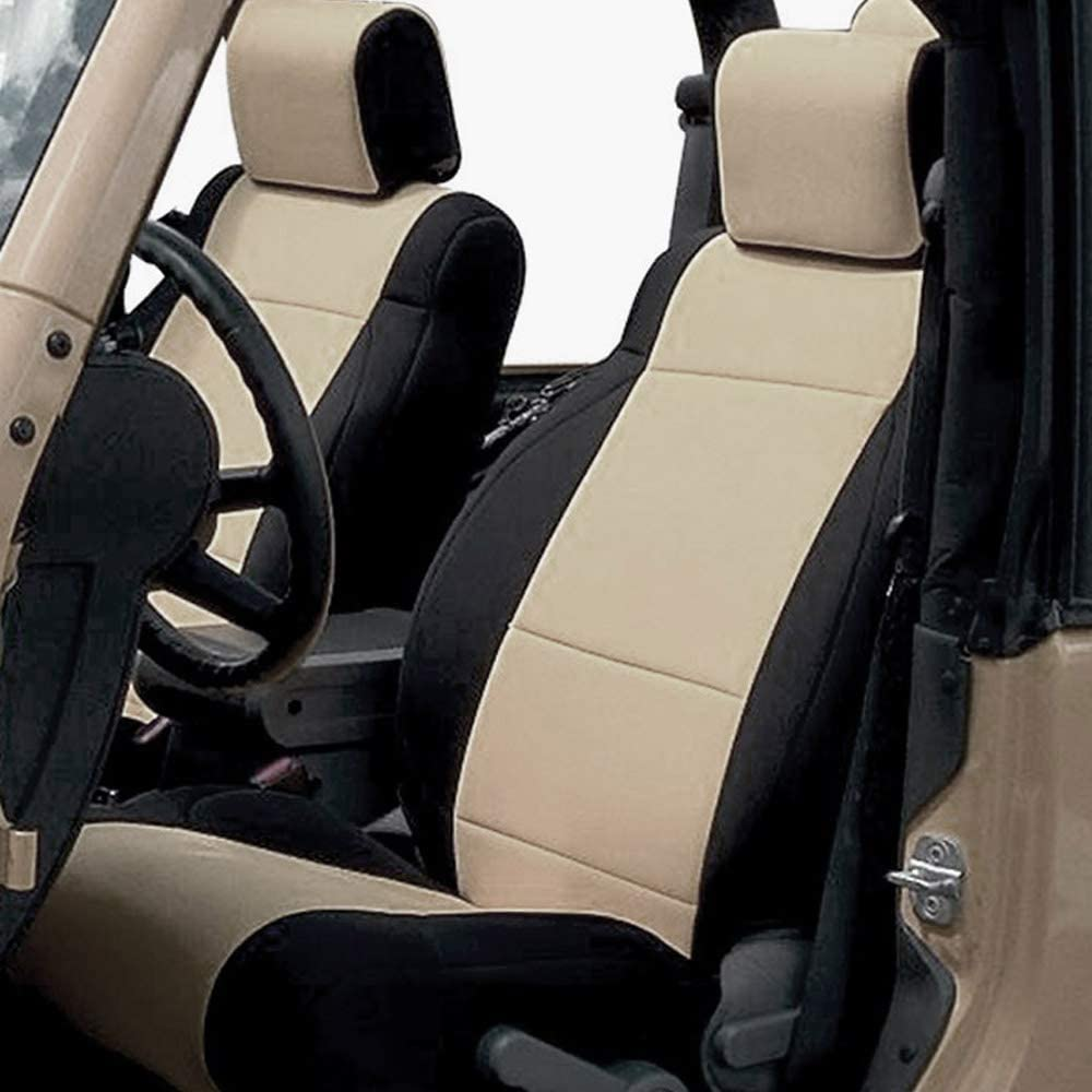 GEARFLAG Neoprene seat Cover Custom fit Wrangler JK 2/4 Doors 2007 to 2017 with Side airbag (Front Pair Seats only) (Side Airbag, Khaki/Black)