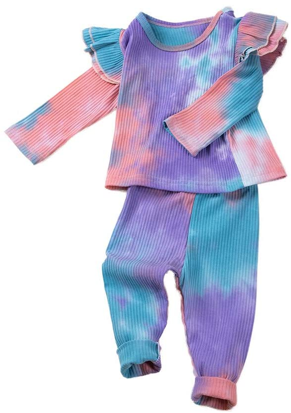 BPOF99 Baby Girl Clothes Adorable Toddler Baby Girls Rainbow Tie-Dyed TopsPants Pajamas Sleepwear Outfits Skin Friendly Lightweight Baby Jumpsuits