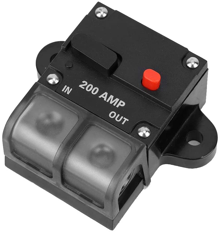 Akozon Circuir Breaker, 12-42V Car Boat Manual Reset Inline Stereo Audio Circuit Breaker Fuse Holder (200A)