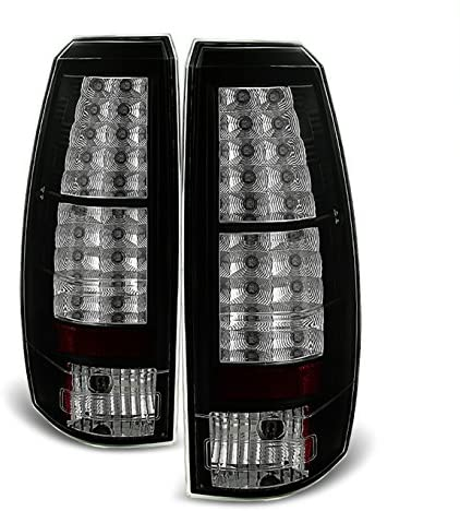 For 07-13 Chevy Avalanche Pickup GMT800 Rear Black LED Tail Lights Brake Lamps Taillamps Replacement