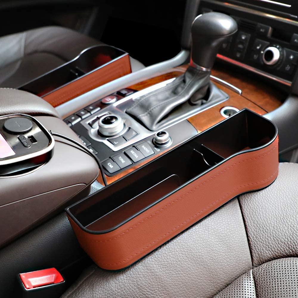 DORUOD 2 Pack Car Organizer Front Seat Filler, Car Seat Pocket Gap, PU Leather or Plastic Car Seat Console Organizer Pocket (PU Brown)