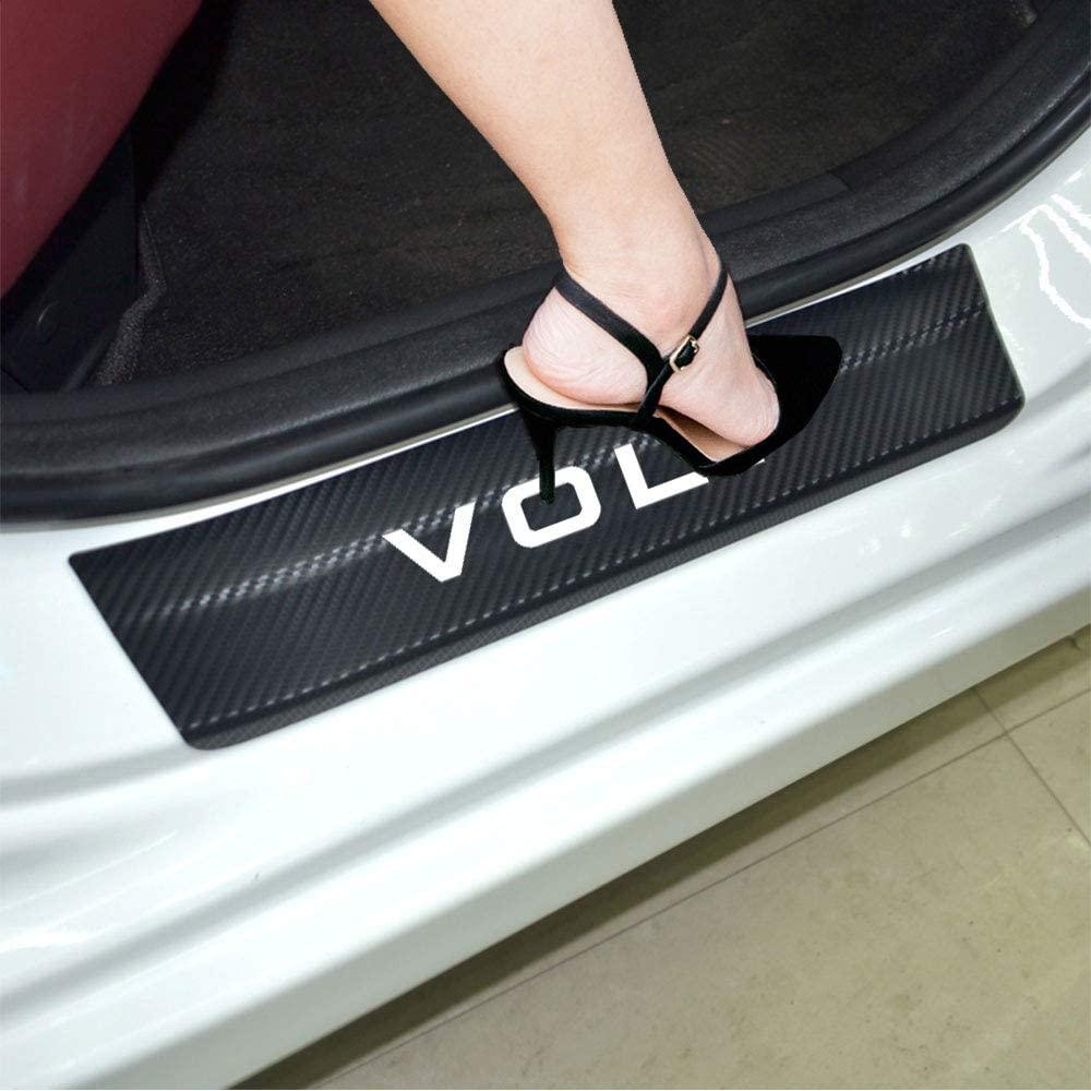 JEYODA 4D Carbon Fiber Car Door Sill Cover Car Door Plate Car Stickers for Chevrolet Volt Door Sill Protector (White)