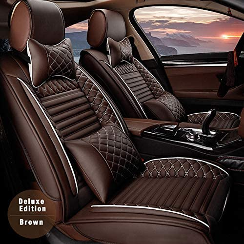 9pcs Car Seat Covers for BMW X5 E70 2008-2013(for 5 Seats),Luxury Soft Waterproof Full Set PU Leather Car Front/Rear Seat Pads(Coffee)