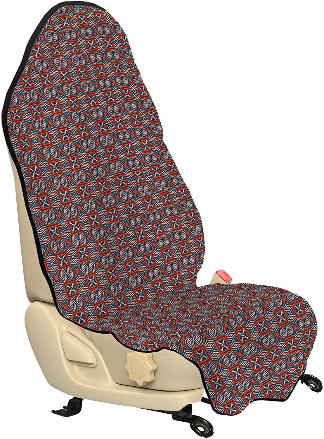 Lunarable Ethnic Car Seat Hoodie, Traditional Moroccan Mosaic Tiles Ottoman Persian Middle Eastern Motif, Car Seat Cover Protector Non Slip Backing Universal Fit, 30