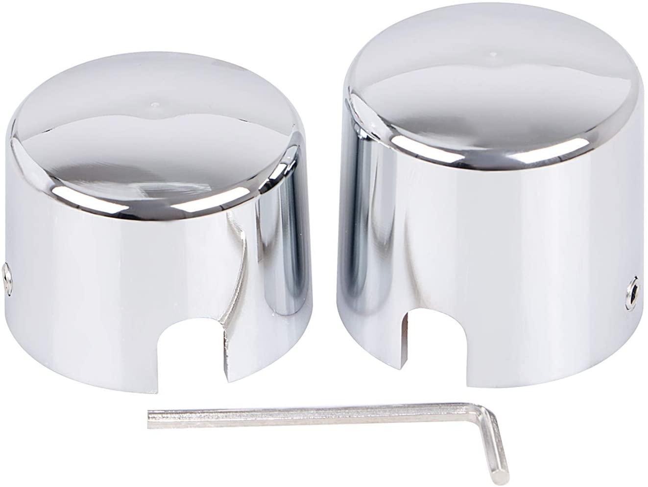 XMMT Pair Chrome Aluminum Rear Axle Nut Caps Cover for Harley-Davidson Softail FLST FXST