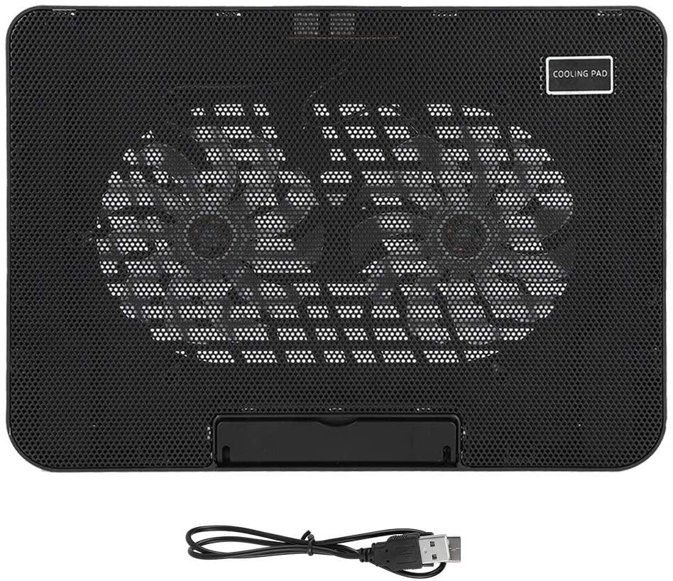Laptop Cooling Pad,2 Mute Fans Laptop Cooler Laptop Notebook Cooling Pad with Bracket,Portable Computer Cooler, Blue LEDs,Lightweight, Quiet, Slim, Portable Laptop Cooling Fan with 2 Fans