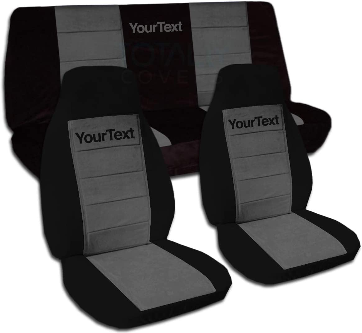 Totally Covers Compatible with 1997-2006 Jeep Wrangler TJ Two-Tone Seat Covers w Your Name/Text: Black & Charcoal - Full Set: Front & Rear (21 Colors) Complete Bench