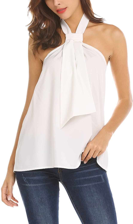 Dealwell Womens Summer Sleeveless Office Shirt Backless A-Line Halter Tank Tops