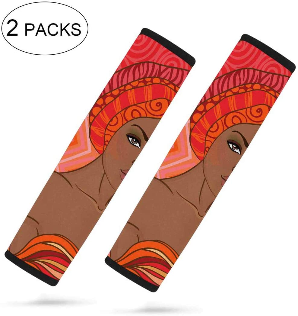 InterestPrint Custom Beautiful African Woman with Earring 2 Pcs Auto Car Seat Belt Shoulder Pads Strap Cover for Universal Car Size 7