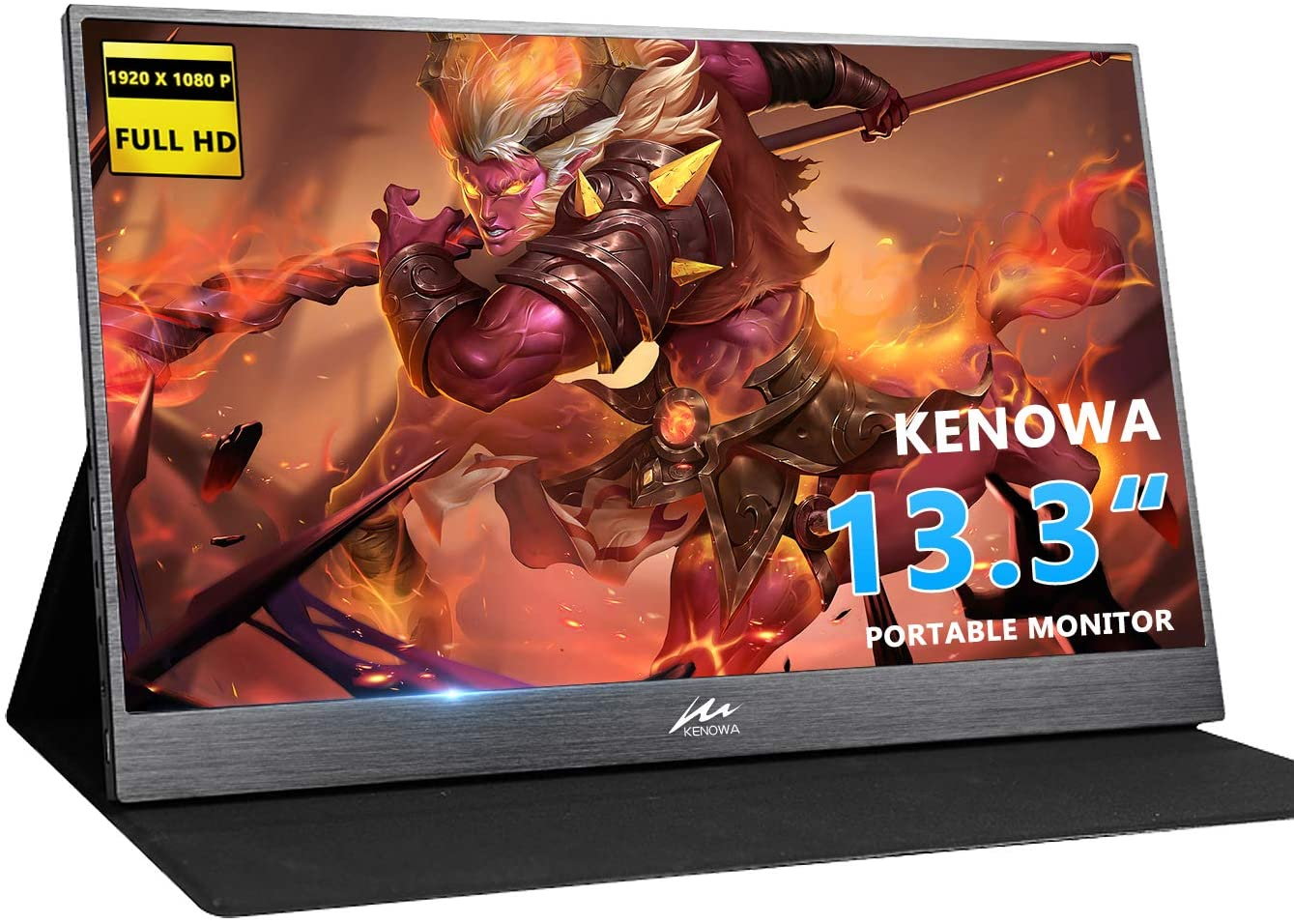 "Kenowa 13.3"" Type-C Portable Monitor Full HD 1920 x 1080 LED IPS Gaming Monitor with Port HDMI USB C for Raspberry Pi PS3 PS4 Xbox Ninetendo Mini PC MAC Laptop Display"